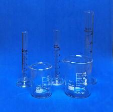 Beaker Set Of 50ml 100ml Amp Cylinder Set Of 5ml 10ml 25ml Lab Glass New