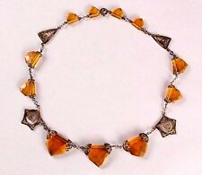 VINTAGE Art Deco Amber Glass Bead Brass Collar Necklace  necklace
