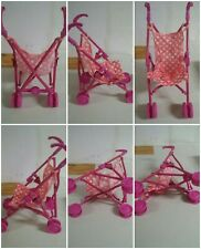 Cute Dark Pink & Polka Dots Doll baby Stroller Cart