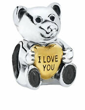 'I Love You' Charm - Gold Heart Teddy Bear - Sterling Silver Charm Bracelet Bead