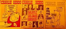 """Lot de 3 """"CHARLIE HEBDO"""" 22 et 29 avril 1974,  6 mai 1974 ; n°s 179, 180 et 181"""