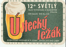 1a CZECH REPUBLIC BEER LABEL USTECKY LEZAK 12° SVETLY PIVORARU A SLADOVEN PRAHA