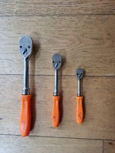 """Snap On 3pc Ratchet Set 1/2"""" 3/8""""  & 1/4"""" Dr Orange handle SH9360 FH9360 THL9360"""