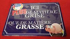 PLAQUE DE RUE HUMORISTIQUE EN TOLE - MATIERE GRISE MATIERE GRASSE - REF23094