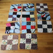 "Vtg Lot of 11 Hand Stitched Square Quilt Blocks Scrap Fabric 13"""