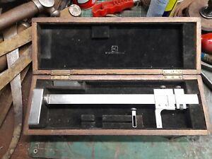 "British N.S.F. Co. Ltd 10"" Vernier Height Gauge / Scribing Block. In box."