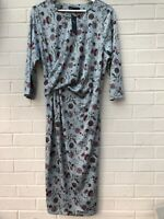 NEW M&S Size 18 Blue Floral Stretch Midi Dress RRP £35