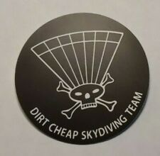 "Dirt Cheap Skydiving Team Sticker 3"" parachute Skydive Skull Crossbones"