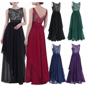 UK_Women Long Chiffon&Lace Evening Formal Party Ball Gown Prom Bridesmaid Dress