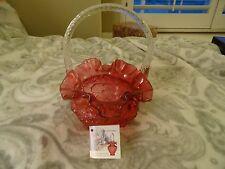 FENTON ART GLASS.. RUFFLED EDGE..CRANBERRY BASKET WITH FLOWERS (1)