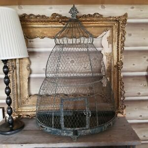 Large Vtg Bird Cage Metal Bee Skep Wall Standing Footed Primitive Shabby Wedding