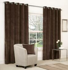 VELVET RINGTOP LINED WINDOW DOOR CURTAINS BROWN RED GREY BLUE BEIGE CREAM BLACK
