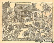 Fall Cabin, Wood Mounted Rubber Stamp IMPRESSION OBSESSION - NEW, H1963