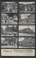 8 Views of Meriden, Connecticut, early postcard, unused