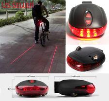 5Led 2 Laser Reflector Lamp Light Cycling Bicycle Bike Rear Tail Warning Alarm
