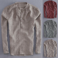 Retro Mens Grandad Collarless Cotton Shirt Long Sleeve Plain V-neck Blouse Tops