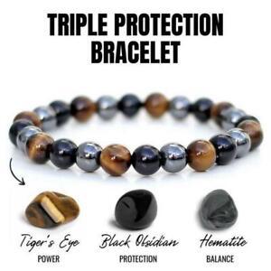 Tiger Eye Natural Stone Obsidian Beaded Bracelet Men Elasticity Bangle Jewelry