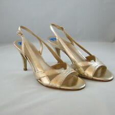 Franco Sarto Gold Sandals 7.5 M Dallas Open Toe Shoes