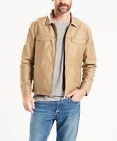 LEVIS Good Harrington Trucker Jacket Coat Lead Grey Khaki Twill Lined Mens Small