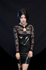 Wetlook Kleid mit Spitze Lackkleid Lack Kleid PVC Dress M One Size (KWS-M-OS)