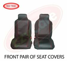 FORD FIESTA VAN (02-11) FABRIC RED TRIM VAN SEAT COVERS 2 SINGLE 1+1