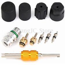 11Pcs R134a Automotive Car Air Conditioning Valve Core Caps Kit Remover Tool A/C