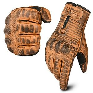Motorcycle Gloves Motorbike Real Vintage Leather Knuckle Protection Touch Screen