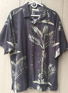 Tommy Bahama Mens Button Down Hawaiian Silk Shirt Size Large