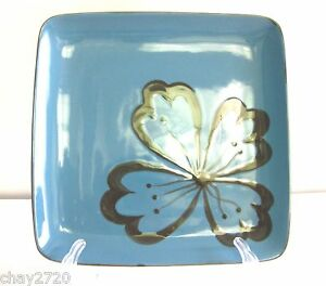 EUC PIER 1 TEAL SQUARE STONEWARE DINNER PLATE WITH BROWN HIBISCUS 10 ½ INCHES