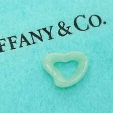Rare Tiffany & Co. Elsa Peretti Green Aventurine Carved Small Open Heart Pendant