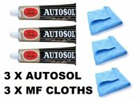 3 x Autosol Solvol Chrome Polish Aluminium Metal Paste Polish Car Motorcycle