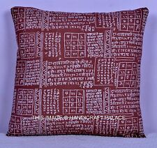 """INDIAN CUSHION COVER MEDITATION MANTRA PRINTED ETHNIC BROWN COLOUR DECOR 16""""x16"""""""