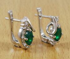 925 Pure Silver Indian Stud Earring Set Green ONYX Stone Women Fashion Jewelry