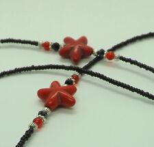 Black Red Flower Glasses Chain Spectacles Holder - Handmade Glasses Chain