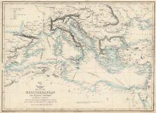 MARE MEDITERRANEO. CAVI SOTTOMARINI TELEGRAFO. NAVE A VAPORE Itinerari. Lowry 1863 Mappa