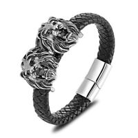 Stainless Steel Mens Genuine Leather Gold Lion Jewelry Braided Bracelet Gift