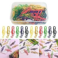 50Pcs/Box Music Symbols Paper Clips Metal Bookmarks Office School Stationery