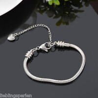 1 Edelstahl Armkette Armband Schlangenkette Silberkette Herzanhänger 16cm L/P