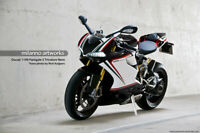 Fairings Kit Bodywork Fit Ducati 848 Evo (1199 Panigale Tricolore Nero Style)