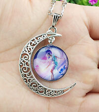 Hot Colorful Galaxy Glass Hollow Moon Shape Pendant Silver Tone Necklace  XL16