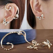 Butterfly Ear Cuff & Butterfly Stud Crystal Rhinestone Gold Tone Earrings