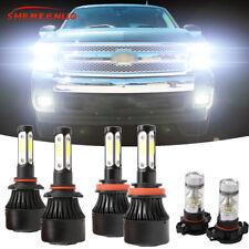 6x 6000K LED Headlight Hi/Lo + Fog Bulbs For Chevy Silverado 1500 2500 2007-2015