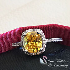 18K White Gold Plated AAA Grade Cubic Zirconia Engagement Yellow Topaz Ring