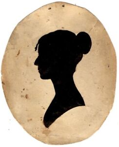 Antique NEW ENGLAND OVAL SILHOUETTE of WOMAN, c. 1800-30s