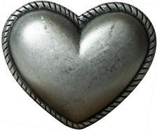 fronhofer Hebilla de cinturón corazón MUJER PLATA ENVEJECIDA 4cm en forma