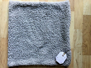 "Pottery Barn Teen Cozy Pillow Cover Gray Sherpa 18"" x 18"" NEW Super Plush!"