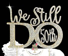 50th Silver/Gold Anniversary Vow Renewal Wedding Cake Topper