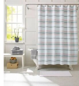BETTER HOMES AND GARDENS Lavender Stripes Fabric 13 Piece Shower Curtain Set New
