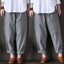 ZANZEA 10-24 Women Plus Size Pants Long Striped Boho Loose High Waist Trousers