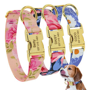 Floral Dog Collar Personalised Gold Buckle Pet ID Name Collars Heavy Duty S M L